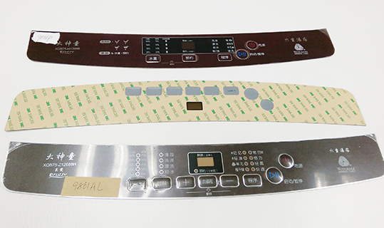 Screen prined PETG plastic embossed membrane switch keypad with strong 3M adhesive backing