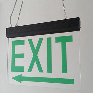 Screen printed double sided emergency exit luminous signage,also custom PVC plastic sheet and acrylic sheet print as exit sign
